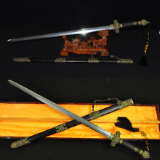 HAND MADE CHINESE SWORD JIAN (劍) FOLDED STEEL CLAY TEMPERED BLADE+NICE FITTINGS