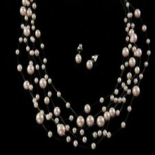 Pretty baby pink imitation pearl illusion set perfect for brides/bridesmaids