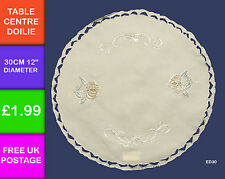 "Embroidered Cream Green Gold Doilie 30cm 12""  Round Mat Coaster Centre ED30"