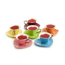 Yedi Heart Shaped Tea Cup Saucer Set 6 Inside Out Platinum 5 oz. Party Gift Box