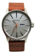 Nixon Sentry A1051752 Silver Dial Brown Leather Band Men's Watch