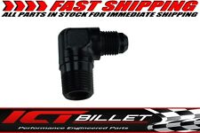 """90 Degree -10AN Male to 1/2""""NPT Pipe Adapter Fitting Black 10 AN Flare"""