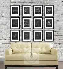 Harley Davidson Patents Posters set of 12 Unframed Wall Art Prints Biker Decor