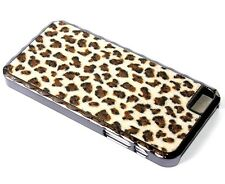 For iPhone SE 5S BLACK PLATING HARD METAL SKIN CASE BROWN FABRIC LEOPARD CHEETAH