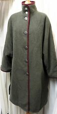 GORGEOUS 'ROWLANDS' GREEN, MADE IN AUSTRIA LOOSE FIT 80% WOOL LINED COAT SIZE18