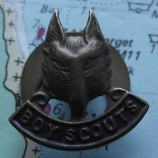 Vintage Boy Scout  Bronze Wolf Head Lapel Badge C