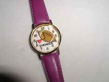 VIKINGS FOOTBALL WATCH NFL PLAYER COACH PURPLE LEATHER BAND CHRISTMAS GIFT NEW!