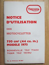 99-0987 TRIUMPH T140 1973 BONNEVILLE RIDER FRENCH OWNER INSTRUCTION MANUAL BOOK