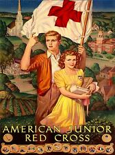 ART PRINT POSTER ADVERT RED CROSS AMERICAN JUNIOR CHILDREN FLAG NOFL1574