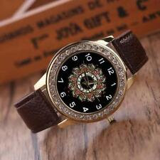 Women`s Gold Quartz Crystal Black Patterned Faced with Brown Band Wrist Watch.