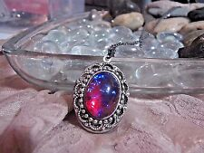 EASTER SCROLL LACE DRAGONS BREATH FIRE LOCKET fire opal Necklace Pendant PHOTO