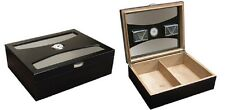 The Delano Black Glass Top Desktop Cigar Humidor - w/ UV Glass Holds 100 Cigars