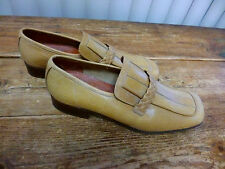 Sam Bork Tan / Gold  Loafers   Made in Italy  Braided Trim   Mens  10  D