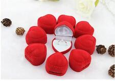 10Pcs Indeed Romantic Velet Red Heart Ring Gift Boxes Jewelry Supplies Hot