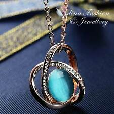 18K Rose Gold Plated Simulated Opal & Diamond Crossover Aquamarine Necklace