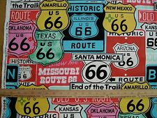 Cotton Fabric Alexander Henry Historic Route 66 Highway Travel Car color D BTY