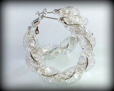 Swarovski Crystal Element AB Stone Stardust White Gold Mesh Large Hoop Earrings