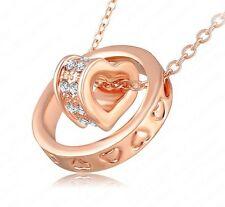 Collier, pendentif anneau et coeur plaqué Or rose 18K + chaine.