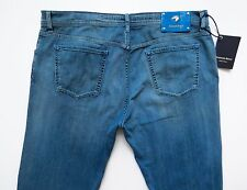 $1860 STEFANO RICCI Blue Crocodile Alligator Trim Jeans Pants 42 US 58 Euro