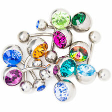 "Wholesale lot of 10pc Belly Ring Large CZ Gems 14g 3/8""(10mm) 316L Steel"