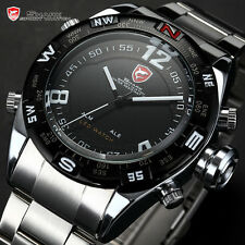 Luxury Mens Bullhead Shark Digital LED Date Sport Black Silver Army Quartz Watch