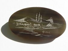 Vintage Etched Green Lucite Inuit Brooch - Alaskan Malamute Dogsled Pin signed