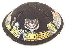 Simple Black Suede Yarmulke Kippah 16 cm Menorah Jewish Kippa Judaica Jerusalem