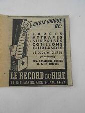 Le record ud Rire Farce attrapes cotillons Publicité Ancienne 1951