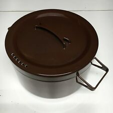 "Finel Arabia Finland SEPPO MALLAT Brown Enamel 8 1/2""  Pot with Lid 4L"