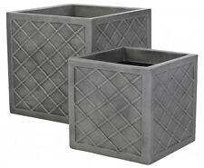 Strata Lazio Planter Set Of 2 Pewter 32cm and 38cm plant pots Patio pots