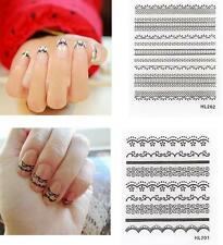 5 Sheets 3D Nail Art Lace Stickers Decals Water Transfers Black Design Nail Art