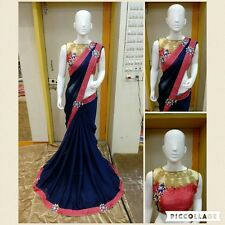 EXCLOSIVE BORDERED PARTY WEAR SAREE FABRIC GEORGETTE SAREE DESIGNER BLOUSE SARI