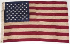 Vintage Tea Stained Cotton 2 X 3 Foot US American Flag