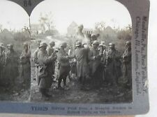 WW1 SERVING FOOD FROM A MOVABLE KITCHEN IN CURLU ON SOMME KEYSTONE STEREOVIEW 84