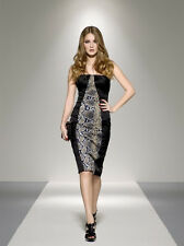 New KAREN MILLEN Black Snake Print Stretch Satin Fitted Sheath Dress UK16 £150