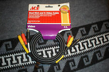 ACE HARDWARE 6 ft Dual RCA /S-Video Cable Gold Plated VCR - TV - DVD (Old Stock)