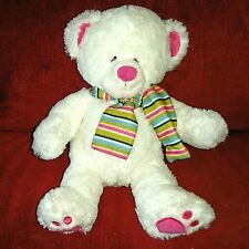 Gund SLOPES Polar Bear White Plush Striped Scarf Pink Nose Inner Ears Foot Pads
