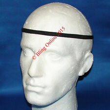 6 X Largo Negro 1cm Vinchas elásticos del pelo Head Band Football Sports Para Hombre Unisex
