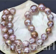 12-14mm natural south seas pink purple kasumi pearl necklace 18inch 14K
