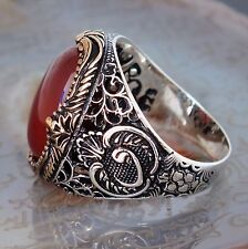 925 Sterling Silver Men's Ring with Carnelian Agate Aqeeq Turkish Craftmanship
