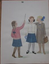 Original Art/Hand-Painted Children's Fashion Painting: 1920-1923, Toy