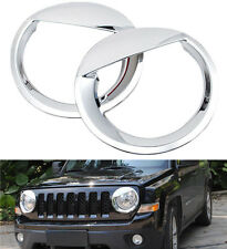 2PCS Chrome Headlight Covers Angry Bird Headlamp Trim For Jeep Patriot 2011-2015