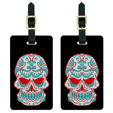 Mexican Day of the Dead Skull Luggage Suitcase Carry-On ID Tags Set of 2