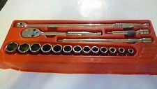 Snap On 17 Piece 1/2 Drive SAE 6 point Shallow General Service Set 3/8 to 1 1/8