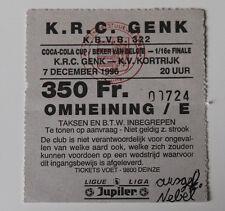 Ticket for collectors Belgium Cup Beker van Belgie KRC Genk - KV Kortrijk 1996