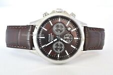 New Pulsar Men Chronograph Watches Leather Strap Stainless Steel Case Gent Sport