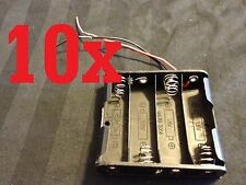 10 Plastic Battery Holder 4 AA Wire Leads cell 6v case