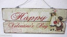 """Vintage Style Valentines Day Hanging Wood Sign Decor Decoration 13"""" Wide"""