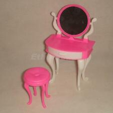 PLASTIC BEDROOM FURNITURE DRESSING TABLE & CHAIR SET FOR BARBIE SINDY DOLLS