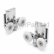 2 x Twin Bottom Zinc Alloy Shower Door Rollers/Runners/Wheels 23mm wheel L067